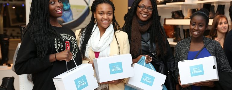 Group of female college students with sampling campaign gift boxes